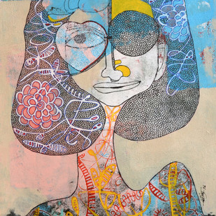 That's not me by Vartika Singh, Expressionism Painting, Acrylic & Ink on Paper, Brown color