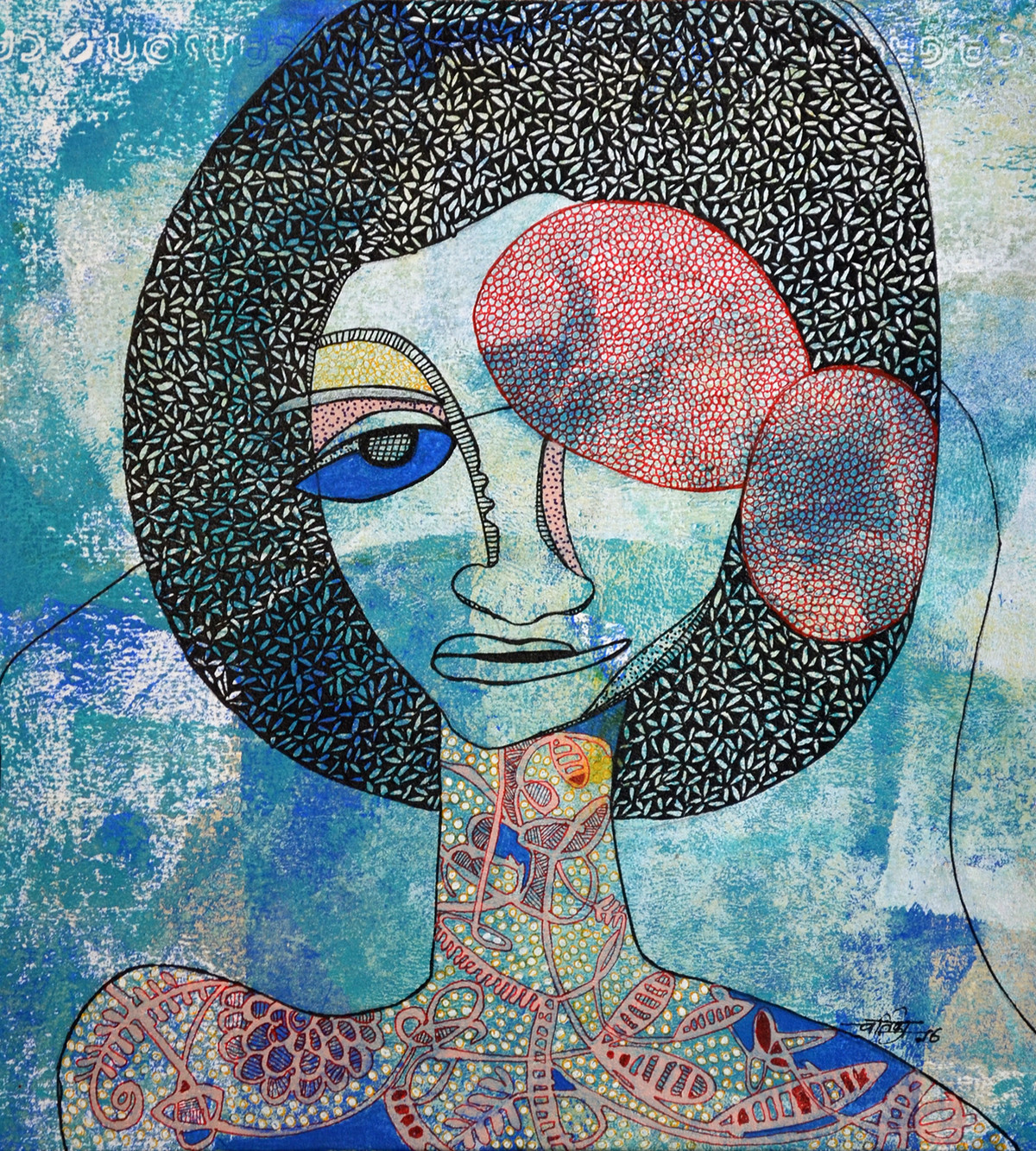Whatever by Vartika Singh, Expressionism Painting, Acrylic & Ink on Paper, Cyan color