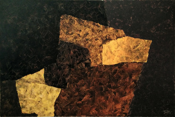 FRACTAL DIMENSIONS by Jaikishan Tada, Abstract Painting, Acrylic on Canvas, Brown color