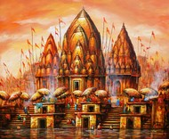 Hues of Holy city by Ananda Das, Expressionism Painting, Acrylic on Canvas, Brown color