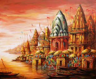 Hues of the Holy City by Ananda Das, Expressionism, Expressionism Painting, Acrylic on Canvas, Brown color