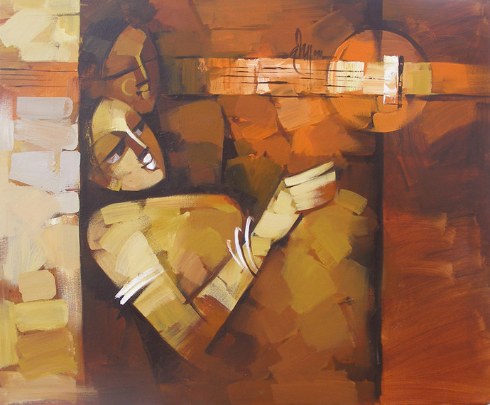 Concert by Deepa Vedpathak, Expressionism Painting, Acrylic on Canvas, Brown color