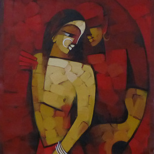 Untitled by Deepa Vedpathak, Expressionism Painting, Acrylic on Canvas, Brown color