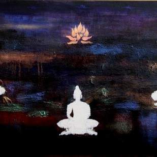 Divine Resonance - The Garden of Tranquillity II by Pratap SJB Rana, Expressionism Painting, Acrylic on Canvas, Blue color