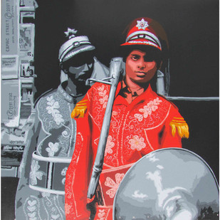 Band 4 by Sujit Karmakar, Expressionism Painting, Acrylic on Canvas, Gray color