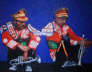 Band 7 by Sujit Karmakar, Expressionism Painting, Acrylic on Canvas, Blue color