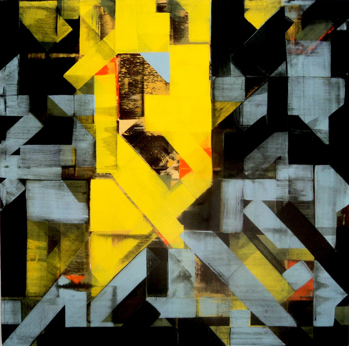 urban mindscape by arindam bose, Geometrical Painting, Acrylic on Canvas, Green color