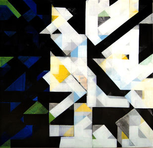 urban mindscape by arindam bose, Geometrical Painting, Acrylic on Canvas, Gray color