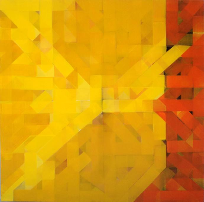 urban mindscape by arindam bose, Geometrical Painting, Acrylic on Canvas, Orange color