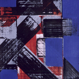 composition by arindam bose, Geometrical Painting, Acrylic on Board, Blue color
