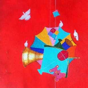 Memories of the childhood v by shiv kumar soni, Expressionism Painting, Acrylic on Canvas, Red color