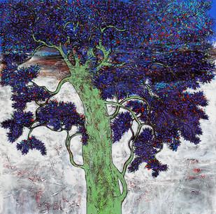 untitled by Bhaskara Rao Botcha, Impressionism Painting, Acrylic on Canvas, Blue color