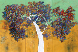 Tree of Life by Bhaskara Rao Botcha, Impressionism, Impressionism Painting, Acrylic on Canvas, Green color
