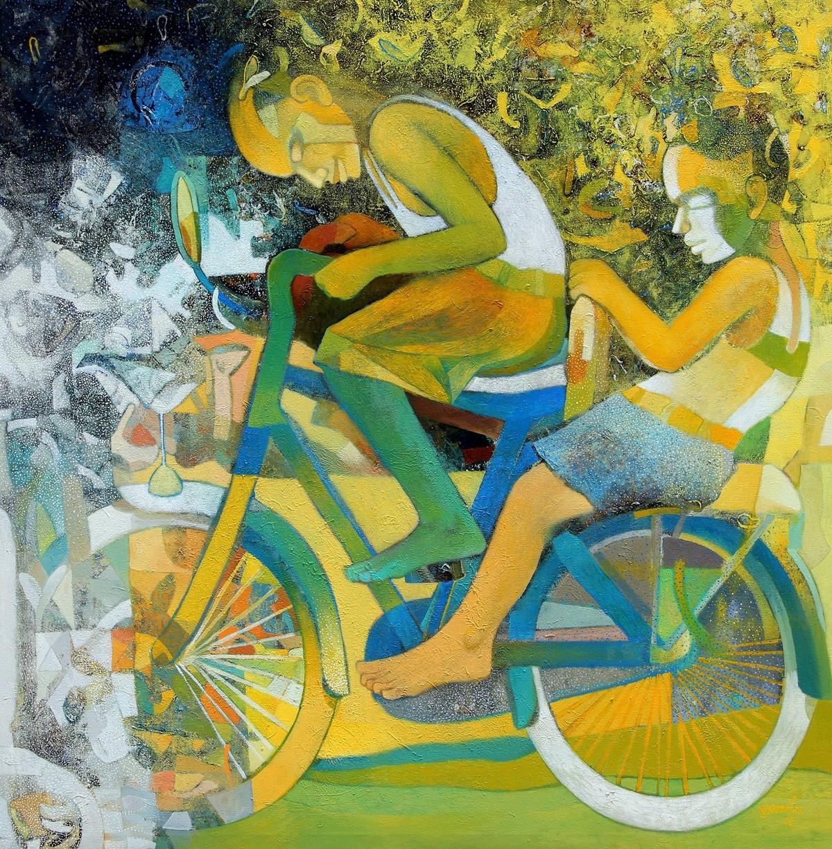 Joy on Wheels by Brajmohan Arya, Fantasy Painting, Acrylic on Canvas, Green color