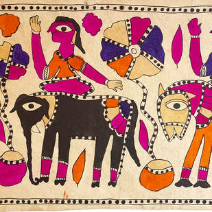 Salhesa With Motiraam And Budheshwar by Yamuna Devi, Traditional Painting, Water Based Medium on Paper, Brown color