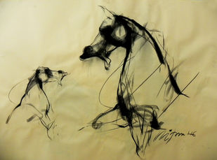Motion I by Mithun Dutta, Impressionism Drawing, Conte on Paper, Beige color