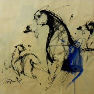 Motion III by Mithun Dutta, Impressionism Drawing, Conte on Paper, Beige color
