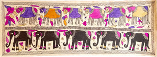 Long Time Partners by Yamuna Devi, Traditional Painting, Water Based Medium on Paper, Beige color