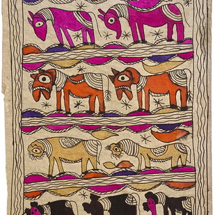 Animal Congregation by Yamuna Devi, Traditional Painting, Water Based Medium on Paper, Brown color