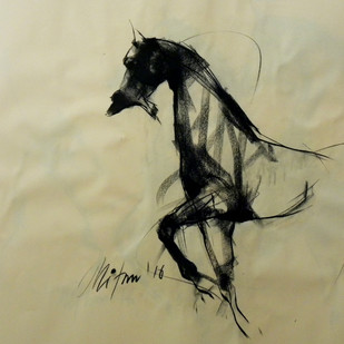 Motion V by Mithun Dutta, Impressionism Drawing, Conte on Paper, Beige color
