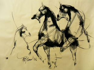Motion VI by Mithun Dutta, Illustration Drawing, Conte on Paper, Beige color
