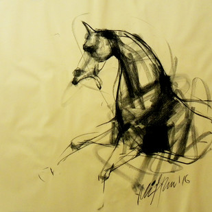 Motion VII by Mithun Dutta, Impressionism Drawing, Conte on Paper, Beige color