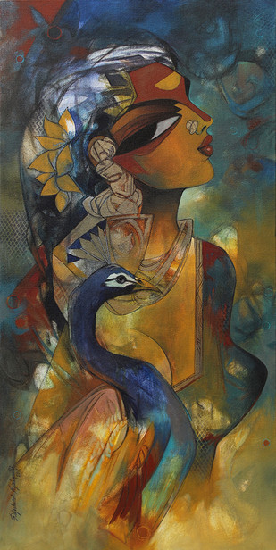 woman with peacock by Rajeshwar Nyalapalli, Expressionism Painting, Acrylic on Canvas, Brown color