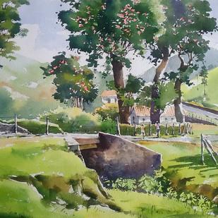 Tea Estate by Sunil Linus De, Impressionism Painting, Watercolor on Paper, Green color