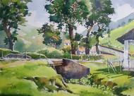 Tea Estate by Sunil Linus De, Impressionism Painting, Watercolor on Paper, Green color