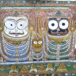 Jaggannath/Balram by Unknown Artist, Traditional Painting, Natural colours on paper, Brown color
