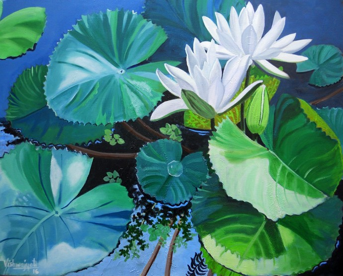 Waterlilies Series 2 by Vishwajyoti Mohrhoff, Impressionism Painting, Acrylic on Canvas, Green color