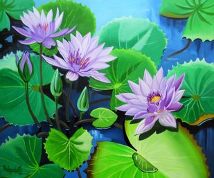 Waterlilies Series 3 Artwork By Vishwajyoti Mohrhoff