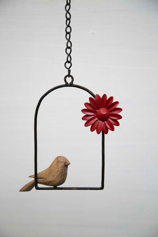 Hanging Bird Flower-Red Garden Decor By Studio Earthbox