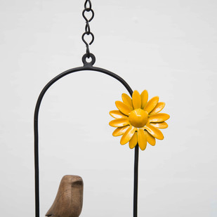Hanging Bird Flower-Yellow Garden Decor By Studio Earthbox