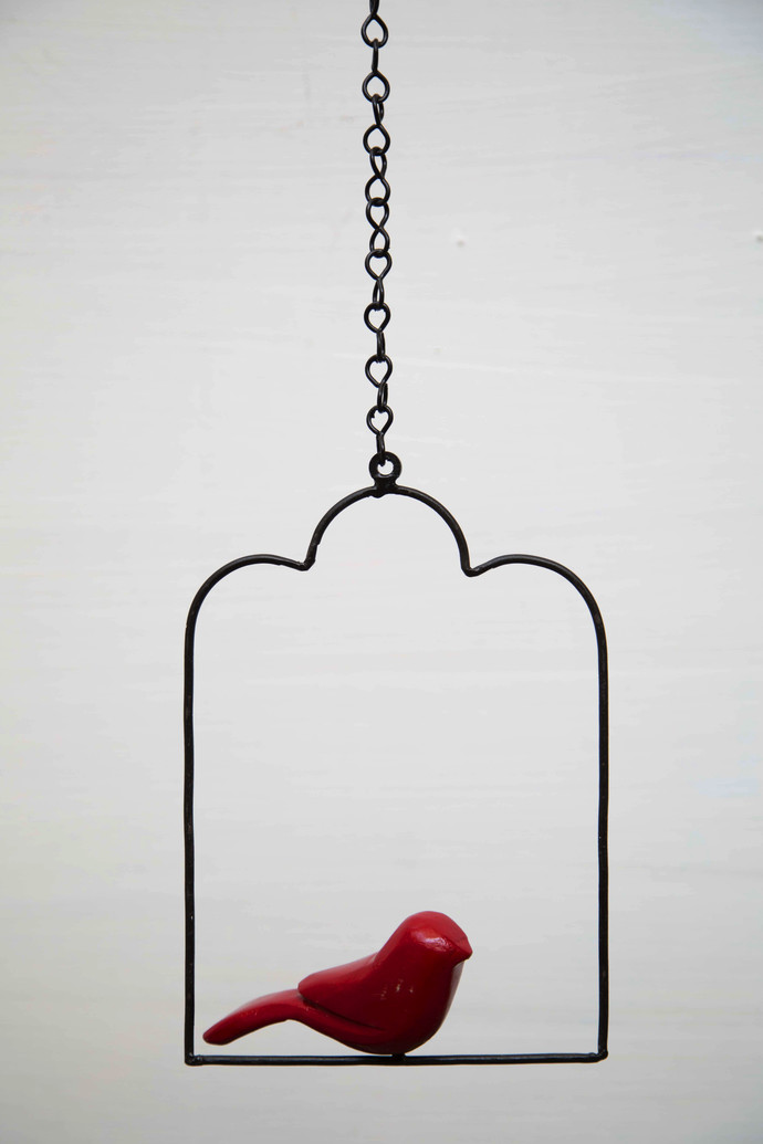 Swinging Bird Red Garden Decor By Studio Earthbox