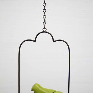 Swinging Bird Green Garden Decor By Studio Earthbox