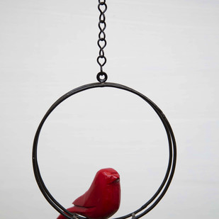 Hanging Bird Round Red Garden Decor By Studio Earthbox