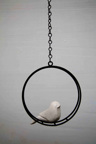 Hanging Bird Round White Garden Decor By Studio Earthbox