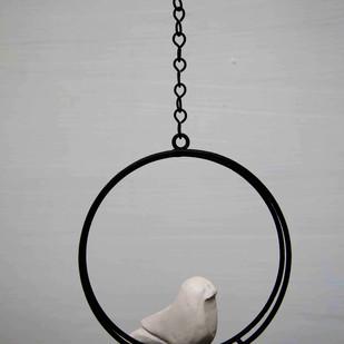 Hanging Bird Round White Garden Decor By Studio Earthbox