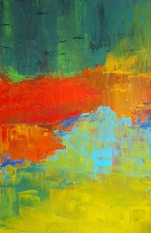 The Day you promised me Heaven - 1 by Taru Shikha, Abstract Painting, Acrylic on Canvas, Green color