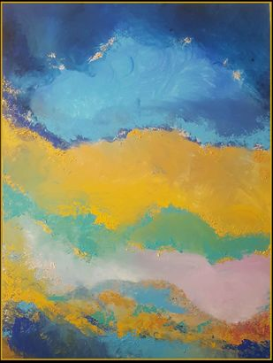 The Silver Lining by Taru Shikha, Abstract Painting, Acrylic on Canvas, Blue color
