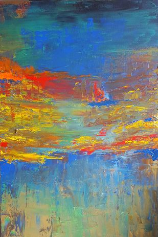 The Day you promised me Heaven -3 by Taru Shikha, Abstract Painting, Acrylic on Canvas, Blue color