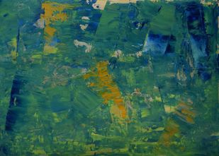 Soul Searching No.1 by Mahesh Sharma, Abstract Painting, Acrylic on Paper, Green color