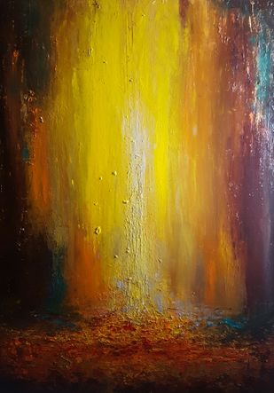 Let there be light , Golden waterfall by Taru Shikha, Abstract Painting, Acrylic on Canvas, Brown color