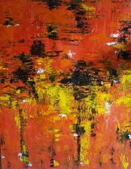 Autumn Leaves by Taru Shikha, Abstract Painting, Acrylic on Canvas, Brown color