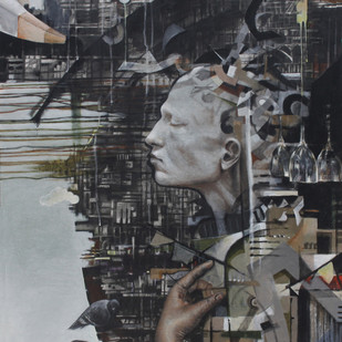 Reciprocal by vikram nayak, Expressionism Painting, Mixed Media, Gray color