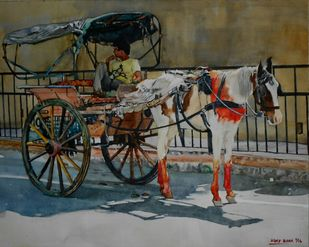 Horse cart by Uday Bhan, Realism Painting, Watercolor on Paper, Green color