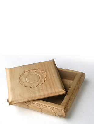 Carved Wooden Box, Lotus, Small Decorative Box By Collective Craft