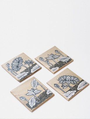 Lotus Coasters, B&W Table Ware By Collective Craft