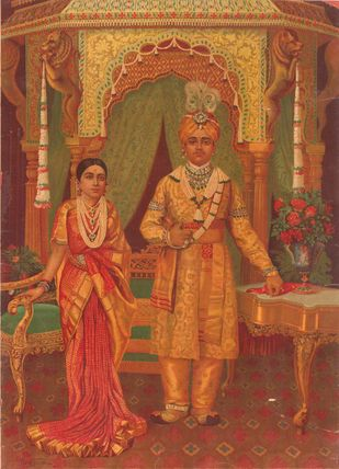 The Maharaja & Maharani of Mysore by Raja Ravi Varma, Traditional Printmaking, Lithography on Paper, Brown color